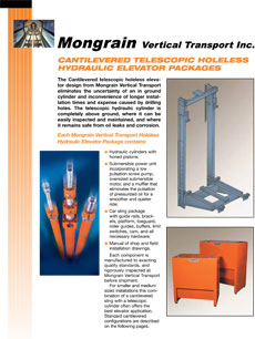 Cantilevered Telescopic Holeless Hydraulic Elevator Packages