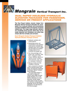 Dual Roped Holeless Hydraulic Elevator Packages for Passenger, Service or Freight Applications